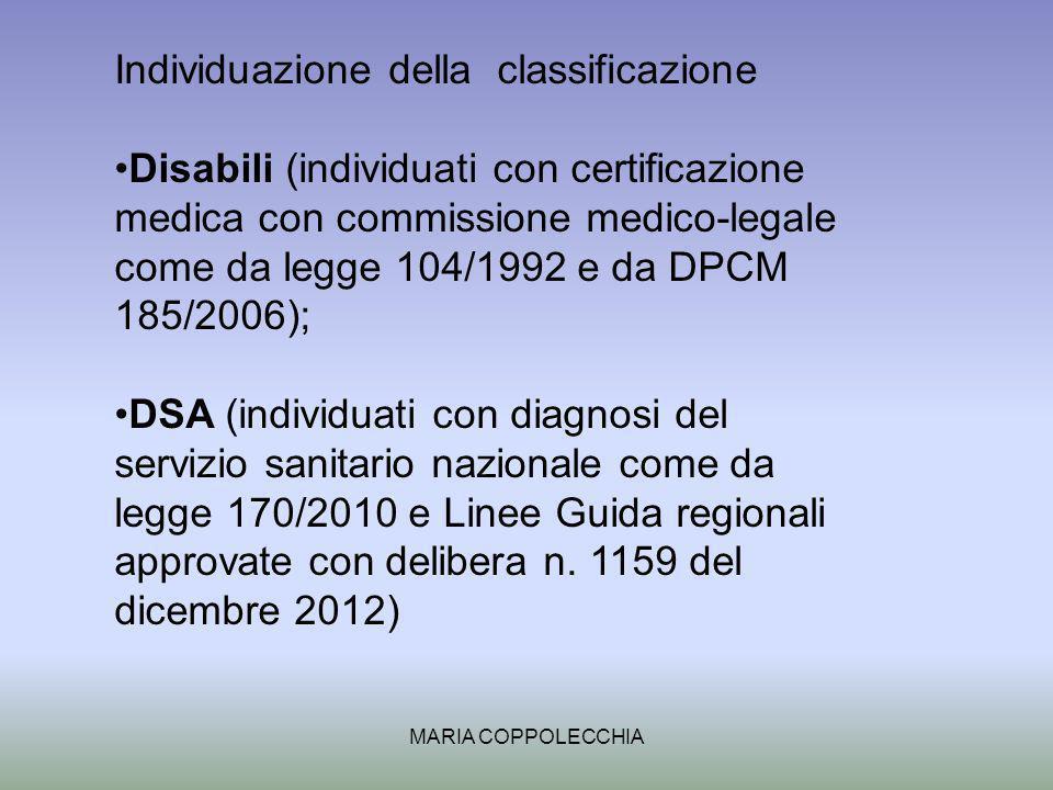 MARIA COPPOLECCHIA Individuazione della classificazione Disabili (individuati con certificazione medica con commissione medico-legale come da legge 104/1992 e da DPCM 185/2006); DSA (individuati con diagnosi del servizio sanitario nazionale come da legge 170/2010 e Linee Guida regionali approvate con delibera n.