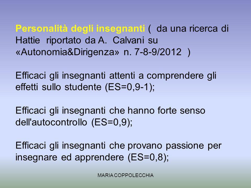 MARIA COPPOLECCHIA Personalità degli insegnanti ( da una ricerca di Hattie riportato da A.