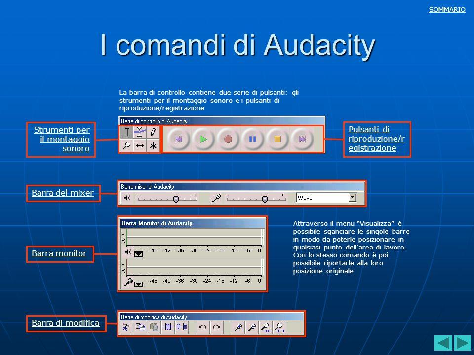 SOMMARIO I comandi di Audacity La barra di controllo contiene due serie di pulsanti: gli strumenti per il montaggio sonoro e i pulsanti di riproduzion