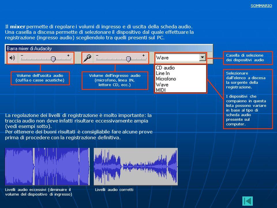 SOMMARIO Il mixer permette di regolare i volumi di ingresso e di uscita della scheda audio. Una casella a discesa permette di selezionare il dispositi