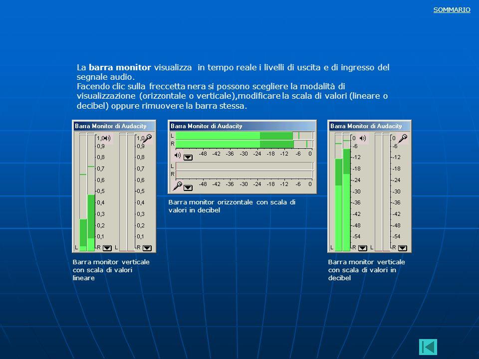 SOMMARIO La barra monitor visualizza in tempo reale i livelli di uscita e di ingresso del segnale audio. Facendo clic sulla freccetta nera si possono