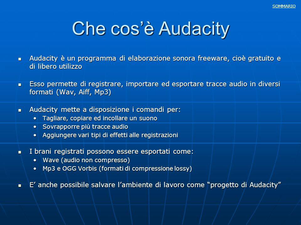SOMMARIO Che cosè Audacity Audacity è un programma di elaborazione sonora freeware, cioè gratuito e di libero utilizzo Audacity è un programma di elab