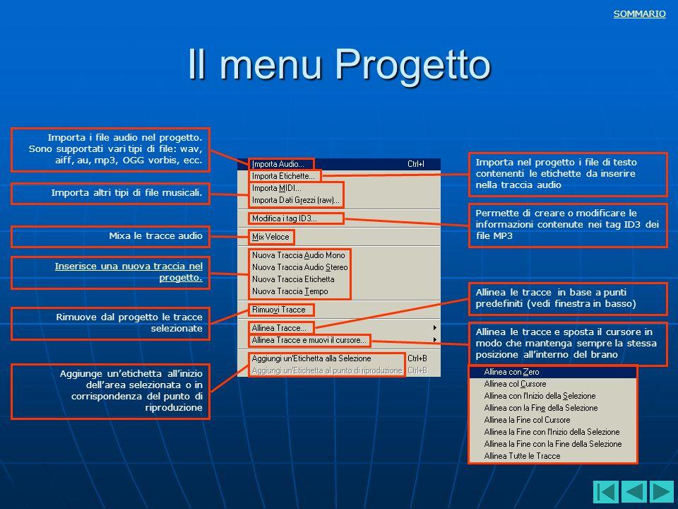 SOMMARIO Il menu Progetto Importa i file audio nel progetto. Sono supportati vari tipi di file: wav, aiff, au, mp3, OGG vorbis, ecc. Importa nel proge