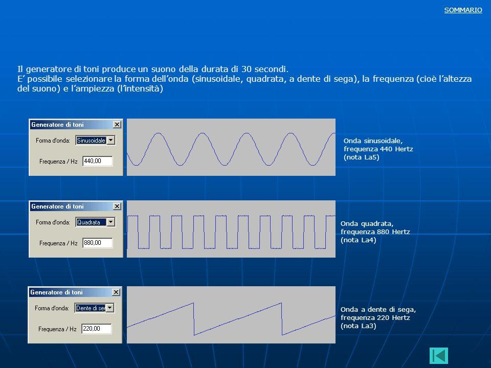 SOMMARIO Il generatore di toni produce un suono della durata di 30 secondi. E possibile selezionare la forma dellonda (sinusoidale, quadrata, a dente