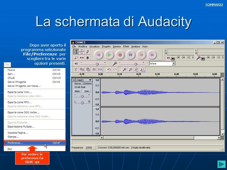 SOMMARIO La schermata di Audacity Dopo aver aperto il programma selezionate File/Preferenze per scegliere tra le varie opzioni presenti. Per vedere le