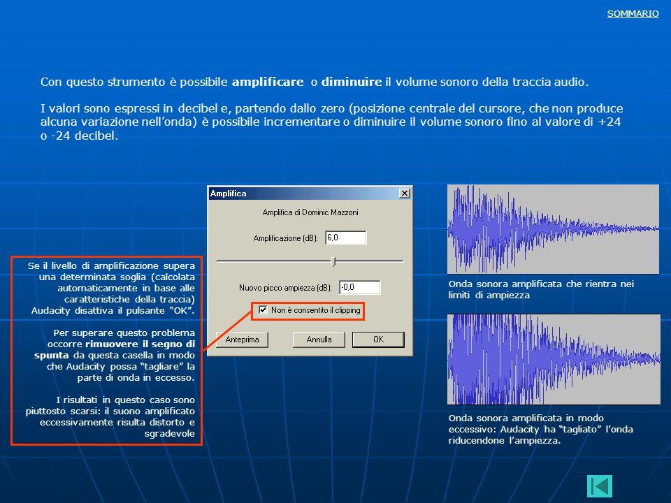SOMMARIO Con questo strumento è possibile amplificare o diminuire il volume sonoro della traccia audio. I valori sono espressi in decibel e, partendo