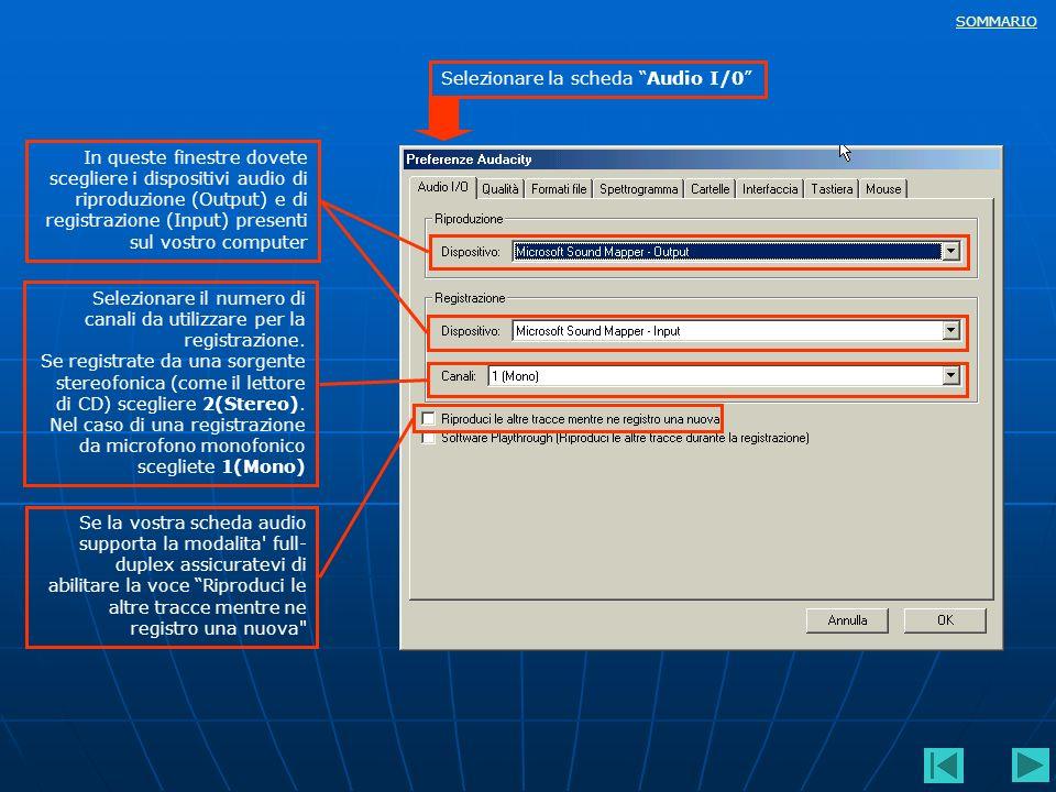 SOMMARIO In queste finestre dovete scegliere i dispositivi audio di riproduzione (Output) e di registrazione (Input) presenti sul vostro computer Sele