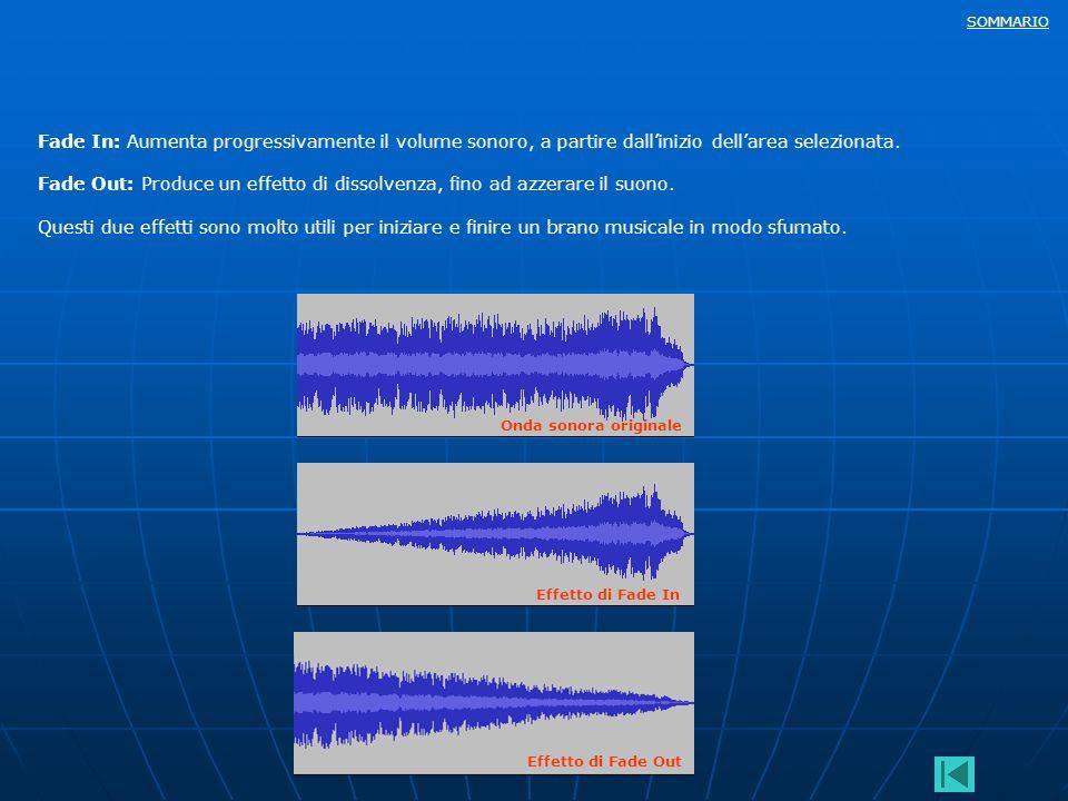 SOMMARIO Fade In: Aumenta progressivamente il volume sonoro, a partire dallinizio dellarea selezionata. Fade Out: Produce un effetto di dissolvenza, f