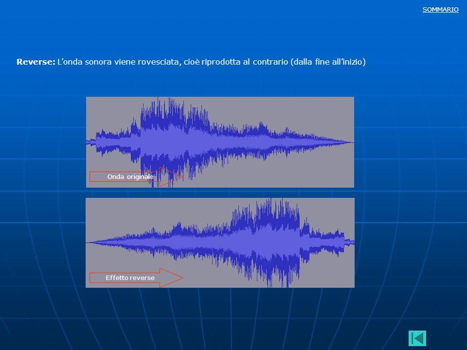 SOMMARIO Reverse: Londa sonora viene rovesciata, cioè riprodotta al contrario (dalla fine allinizio) Onda originale Effetto reverse