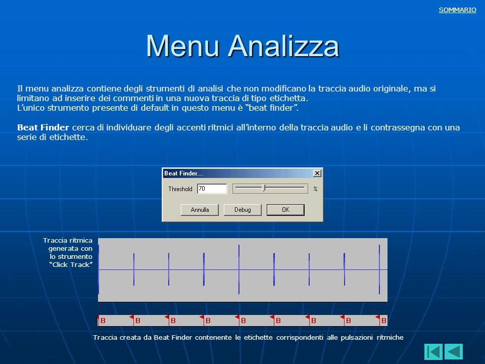 SOMMARIO Il menu analizza contiene degli strumenti di analisi che non modificano la traccia audio originale, ma si limitano ad inserire dei commenti i