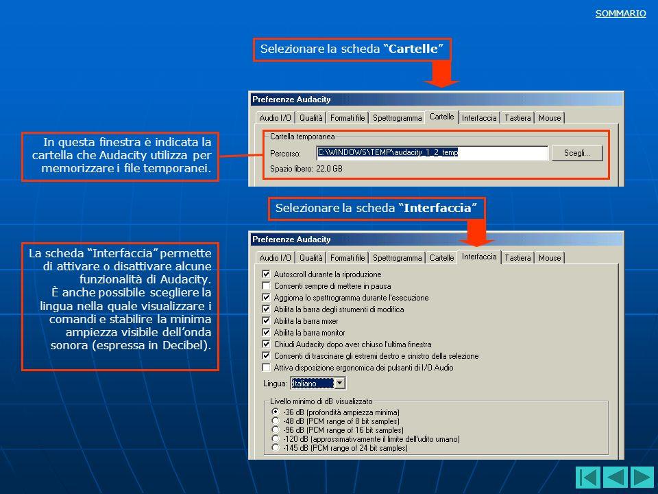 SOMMARIO In questa finestra è indicata la cartella che Audacity utilizza per memorizzare i file temporanei. Selezionare la scheda CartelleSelezionare