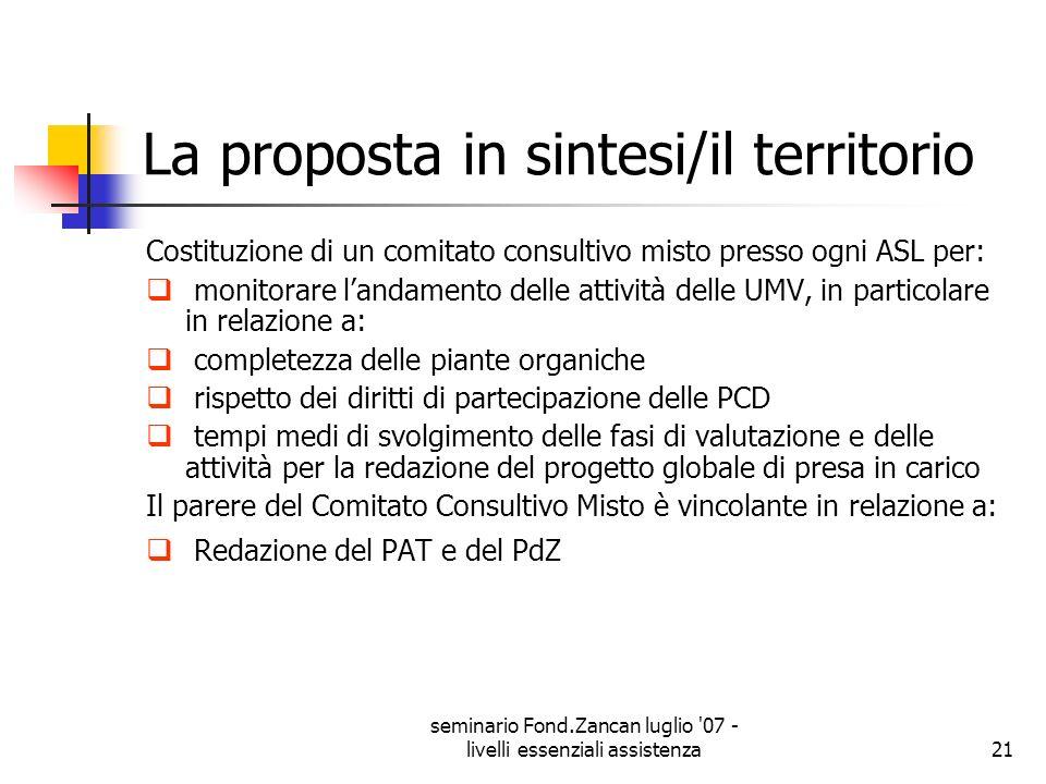 seminario Fond.Zancan luglio '07 - livelli essenziali assistenza21 La proposta in sintesi/il territorio Costituzione di un comitato consultivo misto p