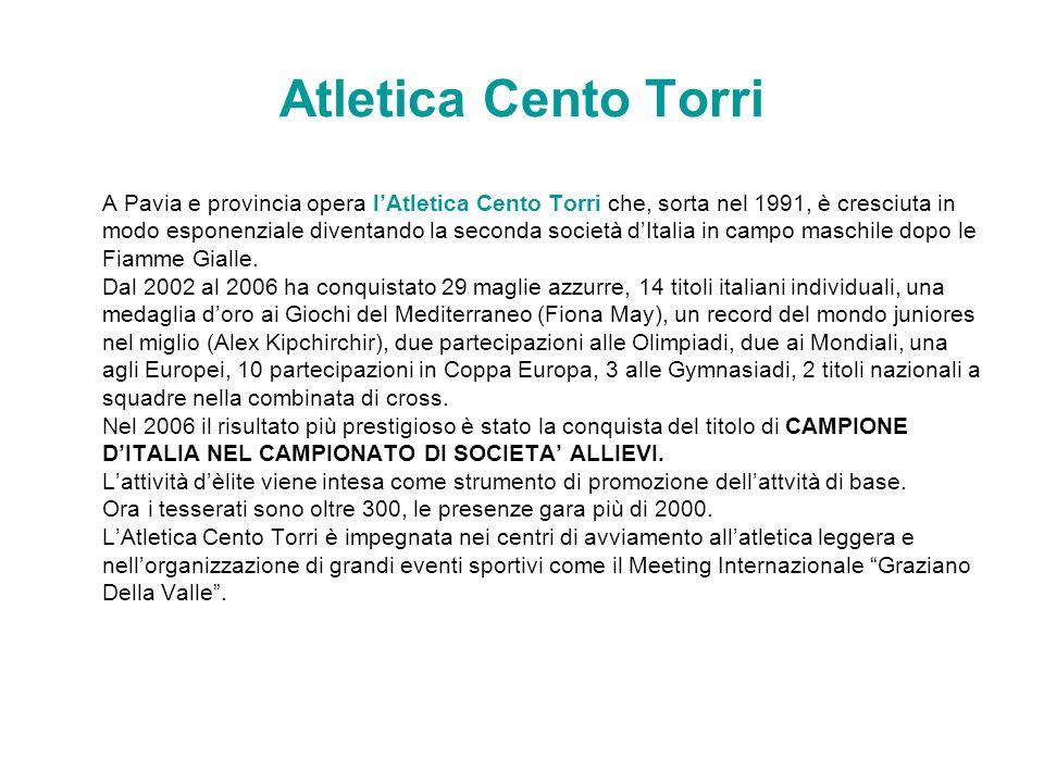 Atletica Cento Torri A Pavia e provincia opera lAtletica Cento Torri che, sorta nel 1991, è cresciuta in modo esponenziale diventando la seconda socie
