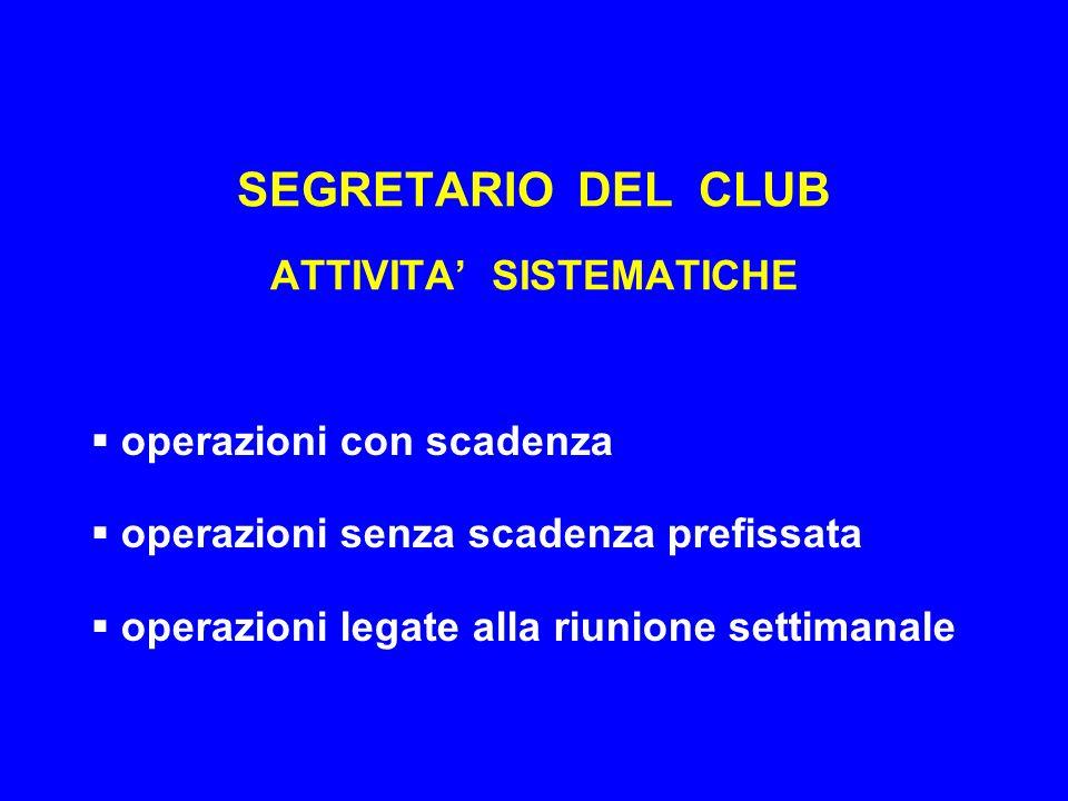 SEGRETARIO DEL CLUB ATTIVITA SISTEMATICHE operazioni con scadenza operazioni senza scadenza prefissata operazioni legate alla riunione settimanale