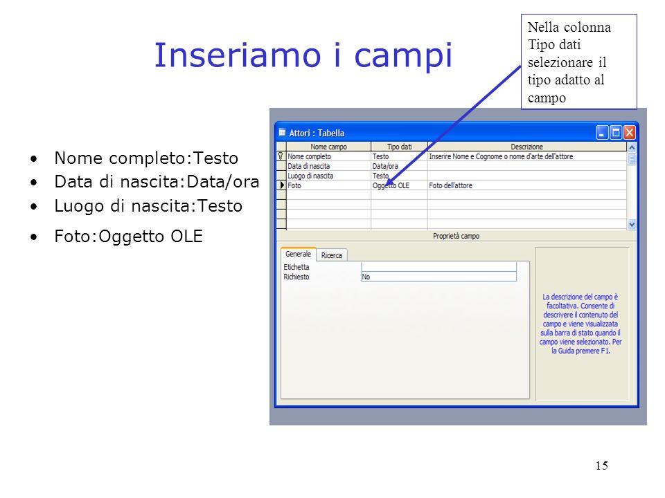15 Inseriamo i campi Nome completo:Testo Data di nascita:Data/ora Luogo di nascita:Testo Foto:Oggetto OLE Nella colonna Tipo dati selezionare il tipo adatto al campo