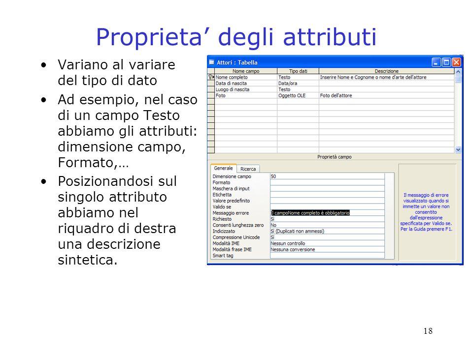18 Proprieta degli attributi Variano al variare del tipo di dato Ad esempio, nel caso di un campo Testo abbiamo gli attributi: dimensione campo, Formato,… Posizionandosi sul singolo attributo abbiamo nel riquadro di destra una descrizione sintetica.