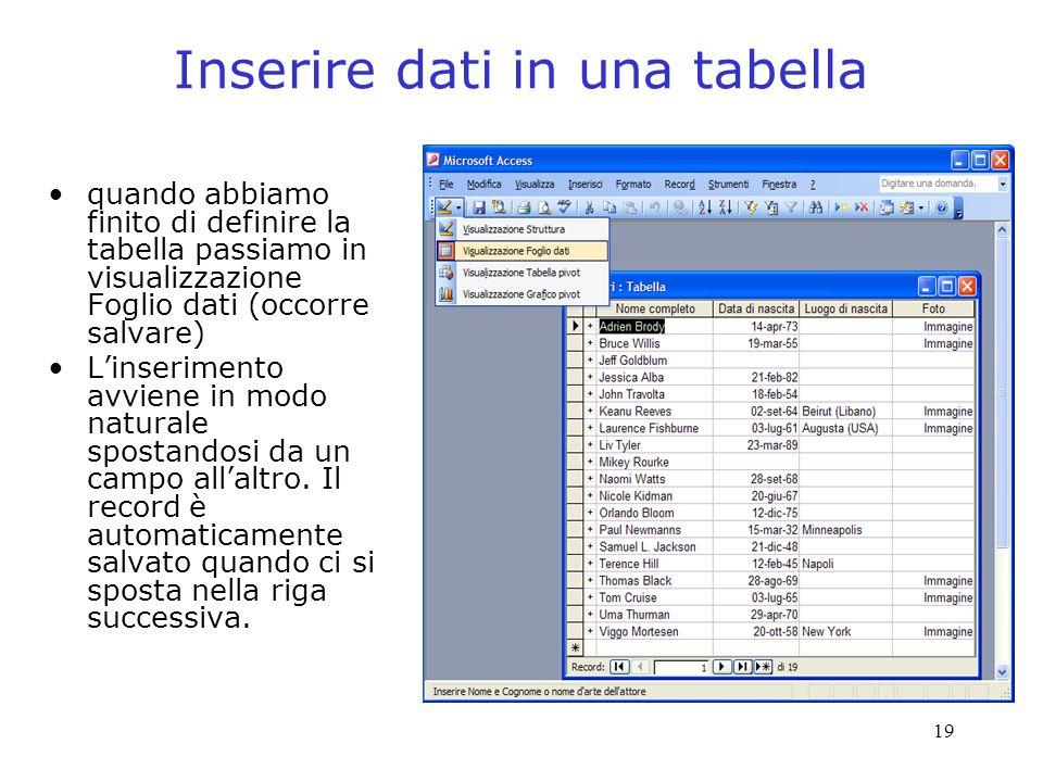 19 Inserire dati in una tabella quando abbiamo finito di definire la tabella passiamo in visualizzazione Foglio dati (occorre salvare) Linserimento av