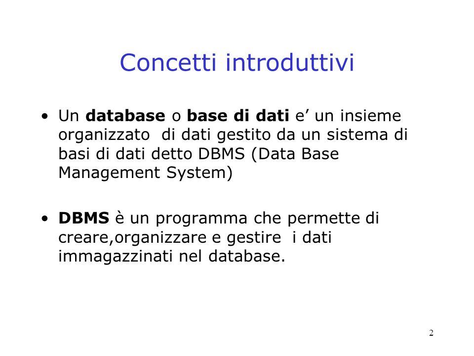 2 Concetti introduttivi Un database o base di dati e un insieme organizzato di dati gestito da un sistema di basi di dati detto DBMS (Data Base Management System) DBMS è un programma che permette di creare,organizzare e gestire i dati immagazzinati nel database.