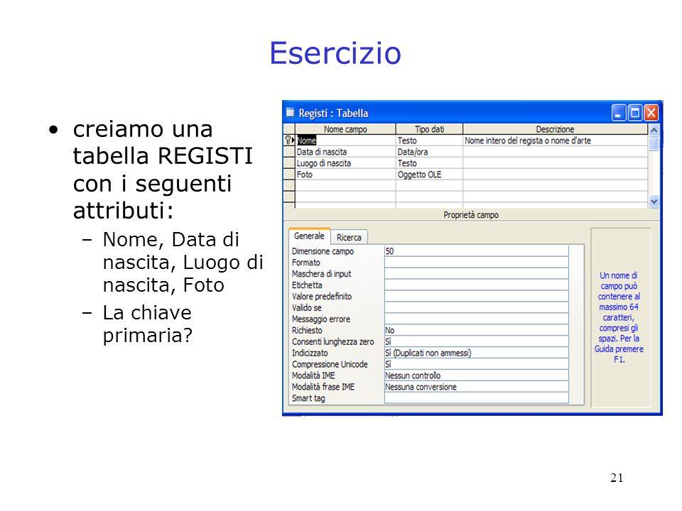 21 Esercizio creiamo una tabella REGISTI con i seguenti attributi: –Nome, Data di nascita, Luogo di nascita, Foto –La chiave primaria?