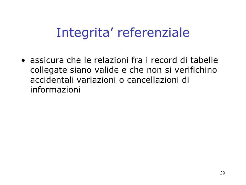 29 Integrita referenziale assicura che le relazioni fra i record di tabelle collegate siano valide e che non si verifichino accidentali variazioni o cancellazioni di informazioni
