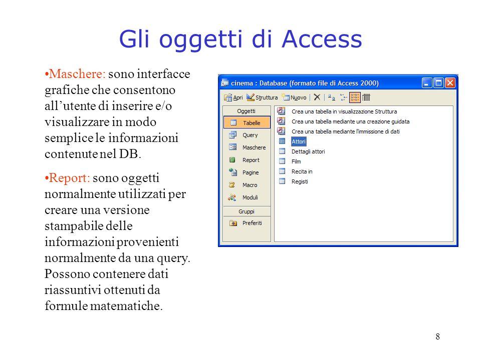 8 Gli oggetti di Access Maschere: sono interfacce grafiche che consentono allutente di inserire e/o visualizzare in modo semplice le informazioni cont