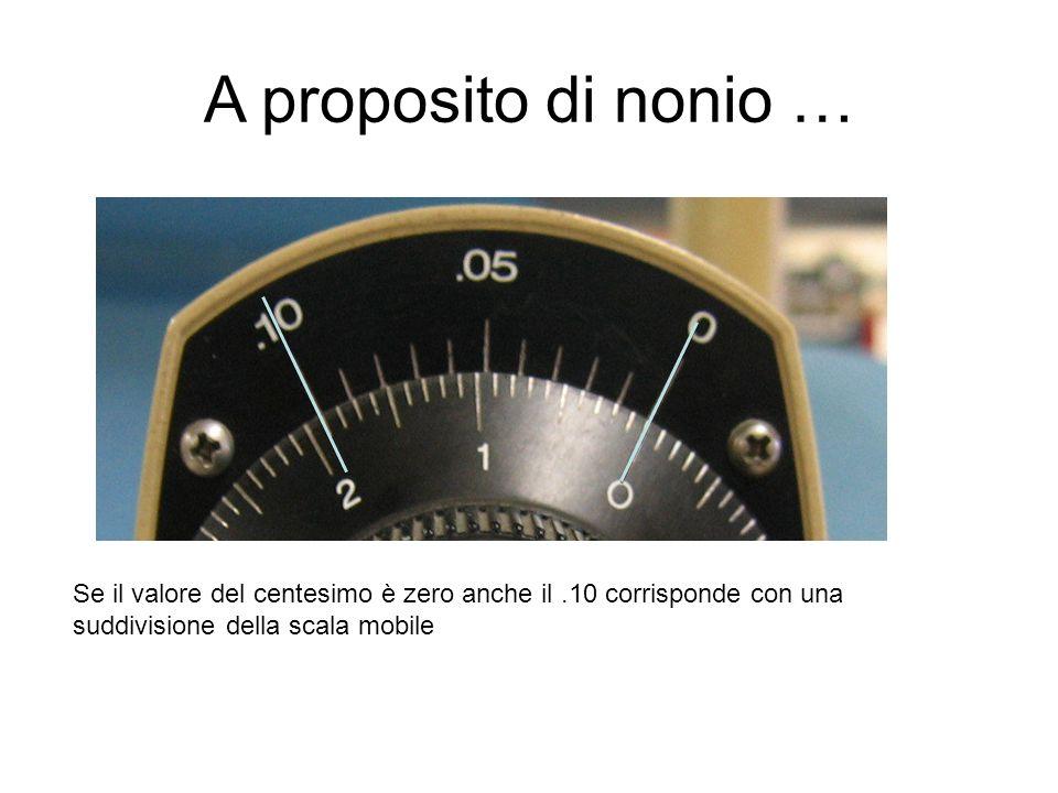 A proposito di nonio … Se il valore del centesimo è zero anche il.10 corrisponde con una suddivisione della scala mobile