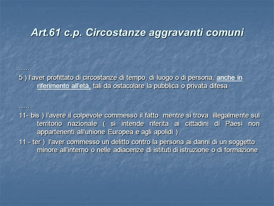 Art.61 c.p. Circostanze aggravanti comuni ….. 5 ) laver profittato di circostanze di tempo, di luogo o di persona, tali da ostacolare la pubblica o pr