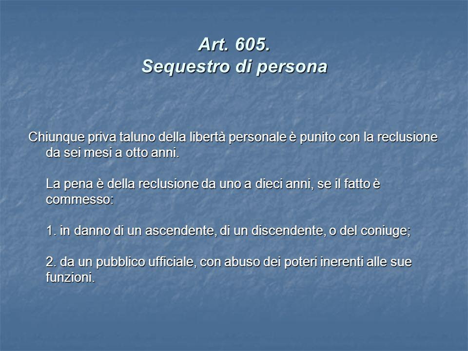 Art. 605. Sequestro di persona Chiunque priva taluno della libertà personale è punito con la reclusione da sei mesi a otto anni. La pena è della reclu