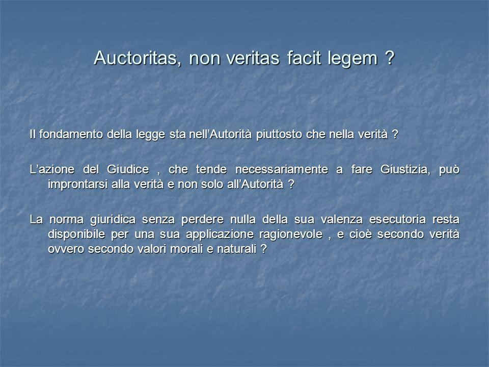 Auctoritas, non veritas facit legem ? Il fondamento della legge sta nellAutorità piuttosto che nella verità ? Lazione del Giudice, che tende necessari
