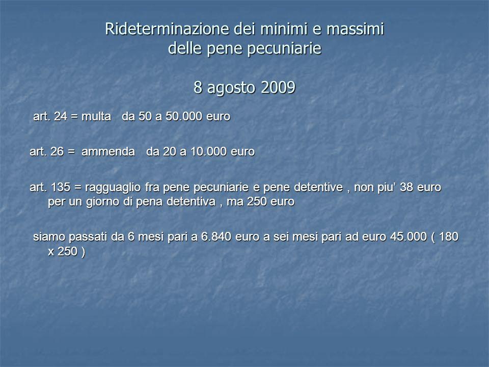 Rideterminazione dei minimi e massimi delle pene pecuniarie 8 agosto 2009 art. 24 = multa da 50 a 50.000 euro art. 24 = multa da 50 a 50.000 euro art.