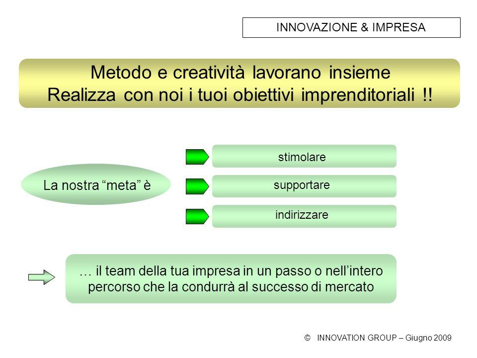 © INNOVATION GROUP – Giugno 2009 stimolare Metodo e creatività lavorano insieme Realizza con noi i tuoi obiettivi imprenditoriali !.