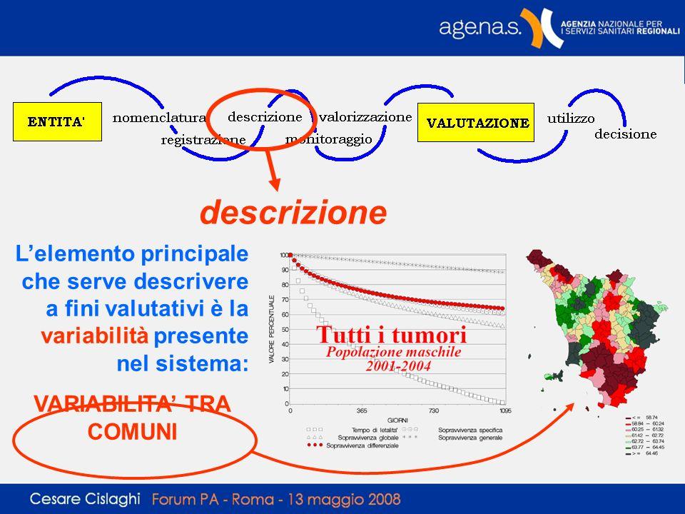 descrizione Lelemento principale che serve descrivere a fini valutativi è la variabilità presente nel sistema: VARIABILITA TRA COMUNI