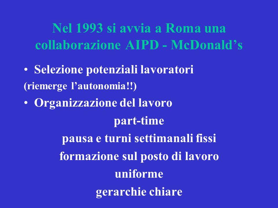 Nel 1993 si avvia a Roma una collaborazione AIPD - McDonalds Selezione potenziali lavoratori (riemerge lautonomia!!) Organizzazione del lavoro part-time pausa e turni settimanali fissi formazione sul posto di lavoro uniforme gerarchie chiare