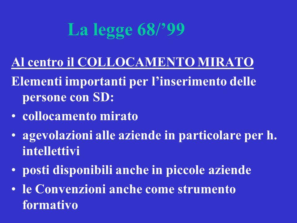 La legge 68/99 Al centro il COLLOCAMENTO MIRATO Elementi importanti per linserimento delle persone con SD: collocamento mirato agevolazioni alle aziende in particolare per h.