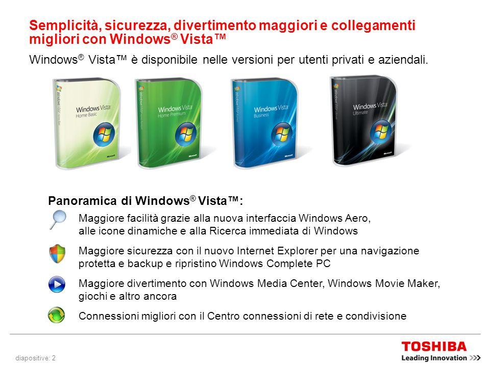 diapositive: 2 Semplicità, sicurezza, divertimento maggiori e collegamenti migliori con Windows ® Vista Windows ® Vista è disponibile nelle versioni per utenti privati e aziendali.