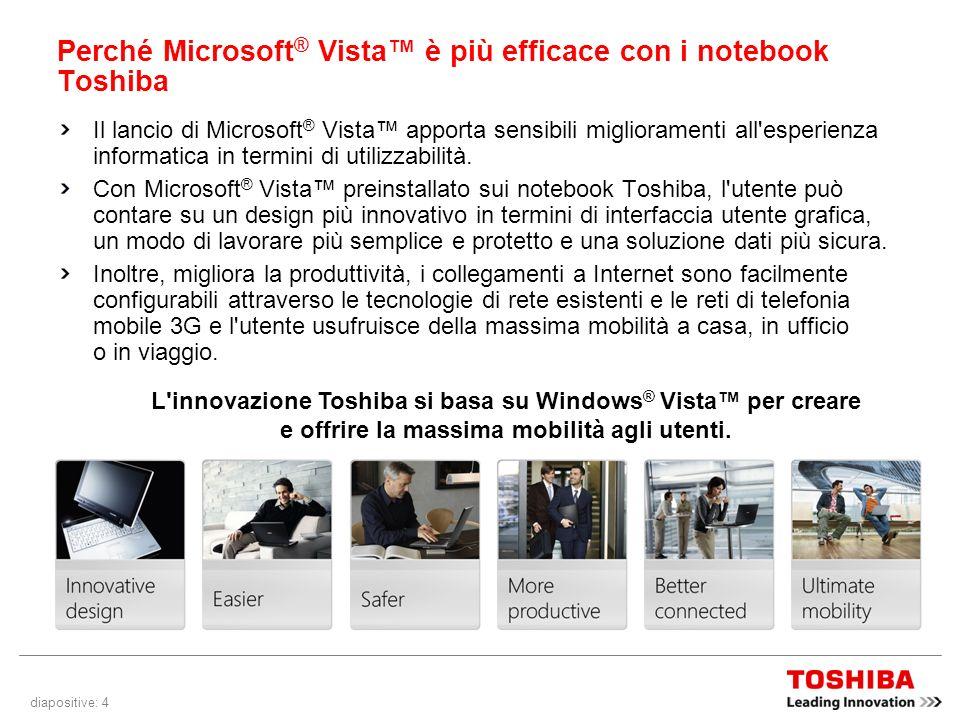 diapositive: 4 Perché Microsoft ® Vista è più efficace con i notebook Toshiba Il lancio di Microsoft ® Vista apporta sensibili miglioramenti all esperienza informatica in termini di utilizzabilità.
