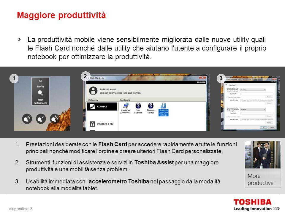 diapositive: 8 Maggiore produttività La produttività mobile viene sensibilmente migliorata dalle nuove utility quali le Flash Card nonché dalle utility che aiutano l utente a configurare il proprio notebook per ottimizzare la produttività.
