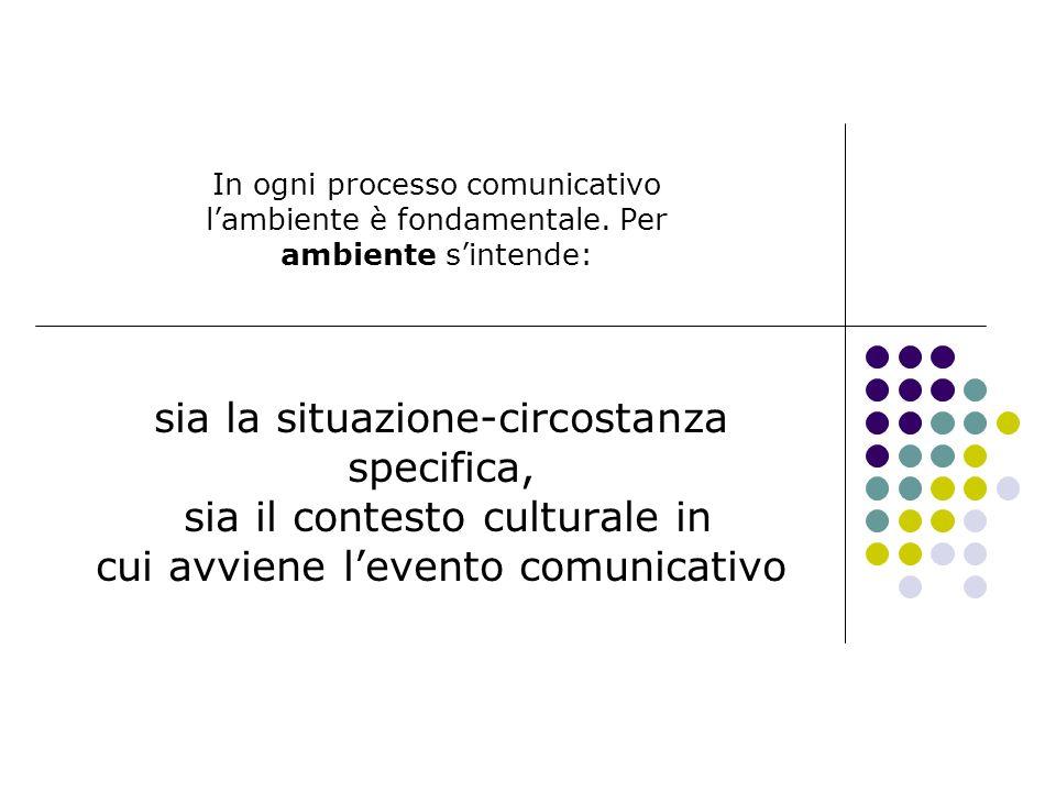 In ogni processo comunicativo lambiente è fondamentale. Per ambiente sintende: sia la situazione-circostanza specifica, sia il contesto culturale in c
