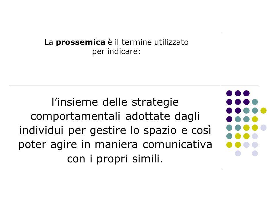 La prossemica è il termine utilizzato per indicare: linsieme delle strategie comportamentali adottate dagli individui per gestire lo spazio e così pot