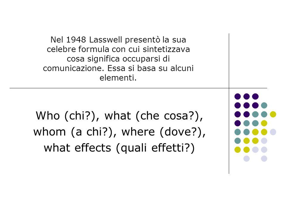 Nel 1948 Lasswell presentò la sua celebre formula con cui sintetizzava cosa significa occuparsi di comunicazione. Essa si basa su alcuni elementi. Who