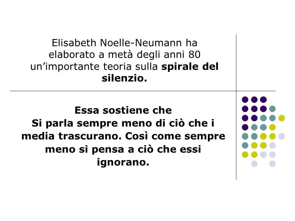 Elisabeth Noelle-Neumann ha elaborato a metà degli anni 80 unimportante teoria sulla spirale del silenzio. Essa sostiene che Si parla sempre meno di c
