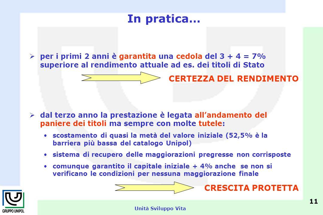 Unità Sviluppo Vita per i primi 2 anni è garantita una cedola del 3 + 4 = 7% superiore al rendimento attuale ad es.