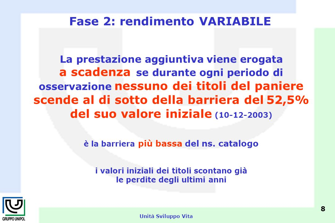 Unità Sviluppo Vita Fase 2: rendimento VARIABILE La prestazione aggiuntiva viene erogata a scadenza se durante ogni periodo di osservazione nessuno dei titoli del paniere scende al di sotto della barriera del 52,5% del suo valore iniziale (10-12-2003) è la barriera più bassa del ns.