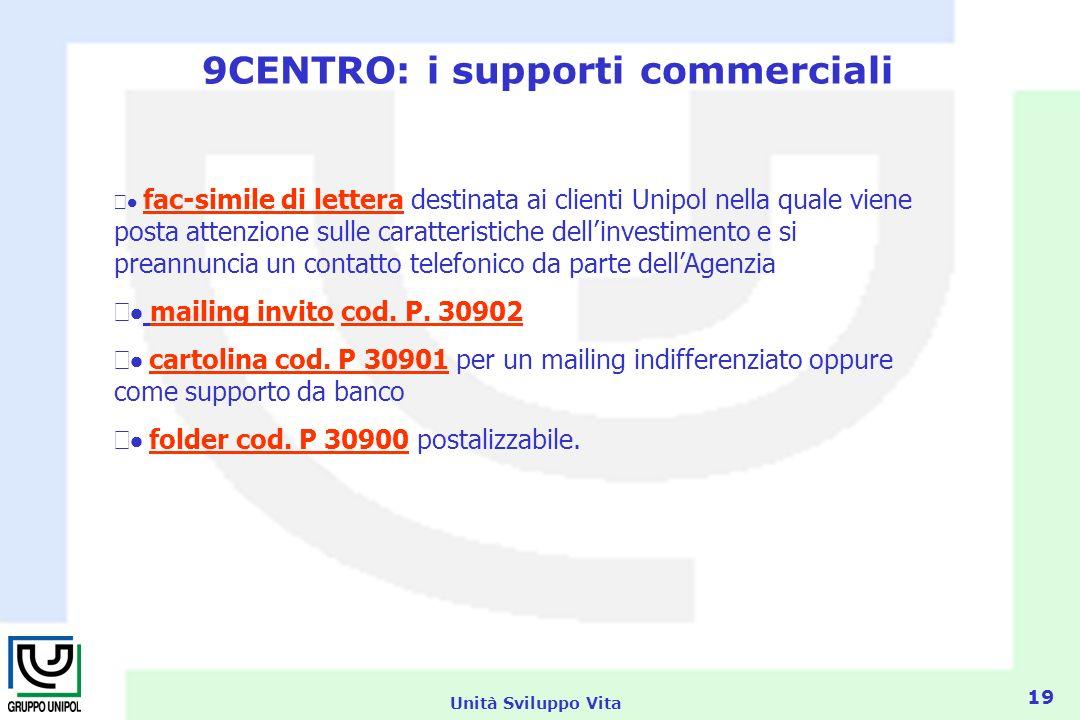 Unità Sviluppo Vita 19 9CENTRO: i supporti commerciali fac-simile di lettera destinata ai clienti Unipol nella quale viene posta attenzione sulle caratteristiche dellinvestimento e si preannuncia un contatto telefonico da parte dellAgenzia mailing invito cod.