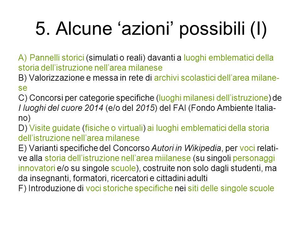 5. Alcune azioni possibili (I) A)Pannelli storici (simulati o reali) davanti a luoghi emblematici della storia dellistruzione nellarea milanese B) Val
