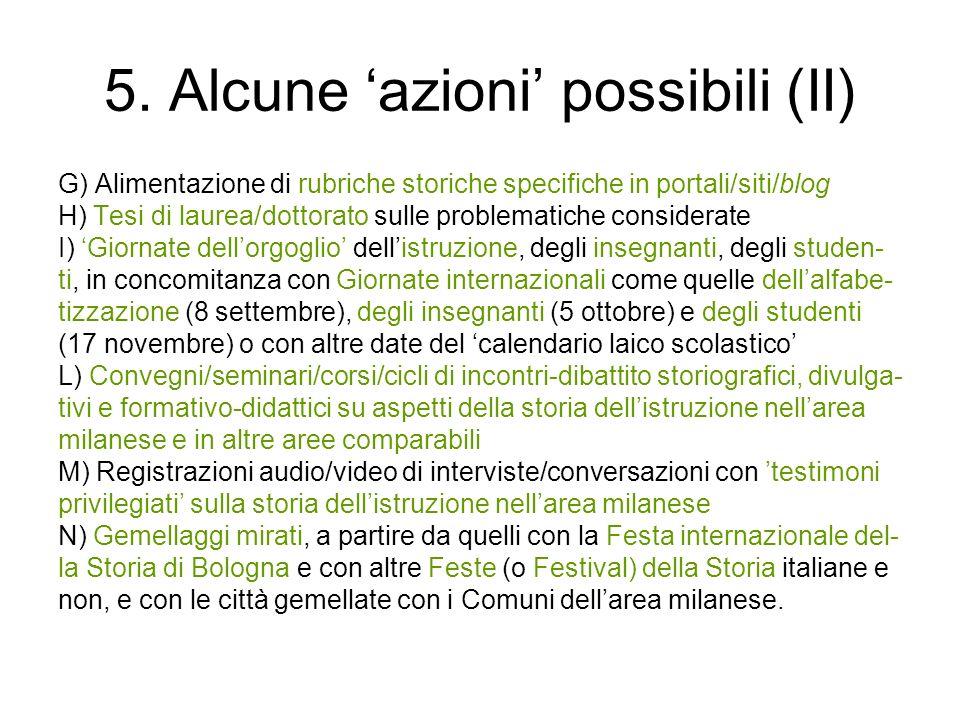 5. Alcune azioni possibili (II) G) Alimentazione di rubriche storiche specifiche in portali/siti/blog H) Tesi di laurea/dottorato sulle problematiche