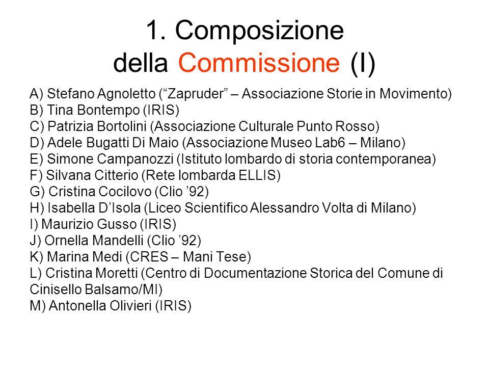 1. Composizione della Commissione (I) A) Stefano Agnoletto (Zapruder – Associazione Storie in Movimento) B) Tina Bontempo (IRIS) C) Patrizia Bortolini