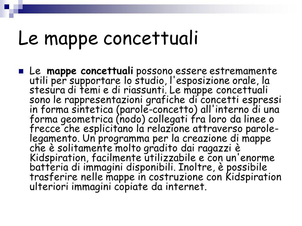 Le mappe concettuali Le mappe concettuali possono essere estremamente utili per supportare lo studio, l'esposizione orale, la stesura di temi e di ria