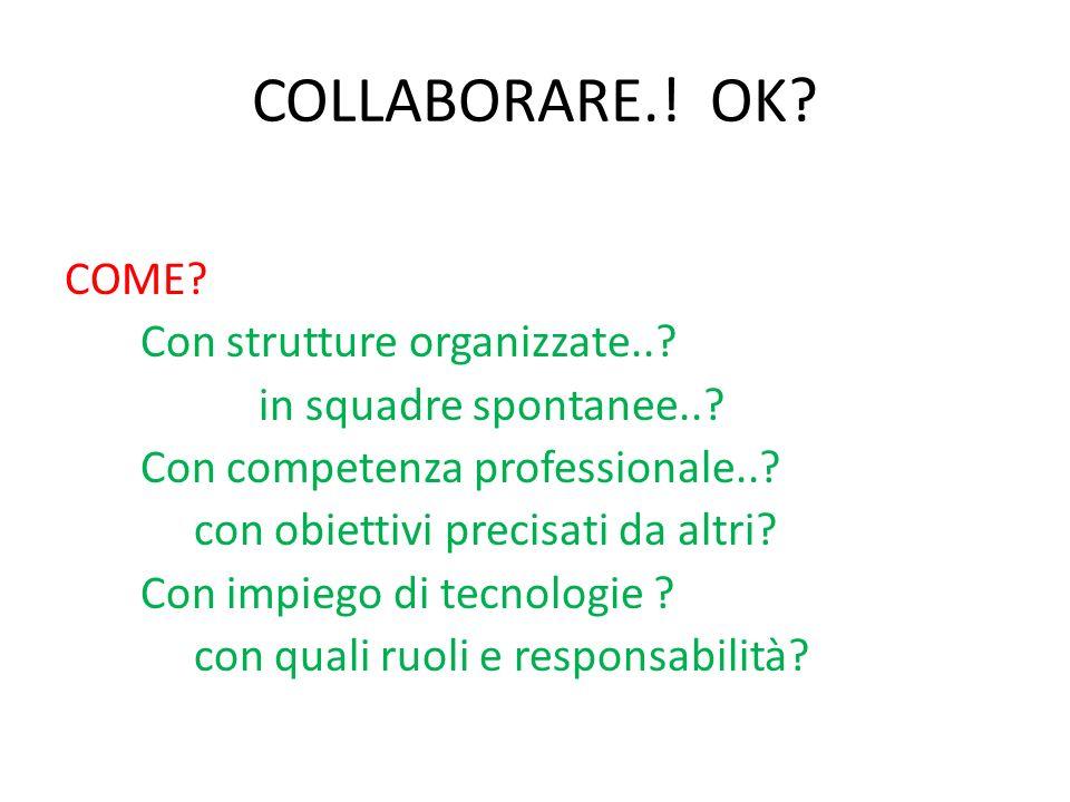 COLLABORARE.! OK? COME? Con strutture organizzate..? in squadre spontanee..? Con competenza professionale..? con obiettivi precisati da altri? Con imp