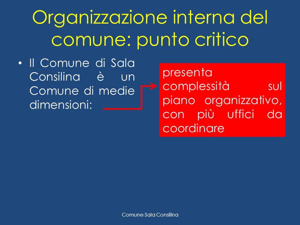 Organizzazione interna del comune: punto critico Il Comune di Sala Consilina è un Comune di medie dimensioni: Comune Sala Consilina presenta complessità sul piano organizzativo, con più uffici da coordinare